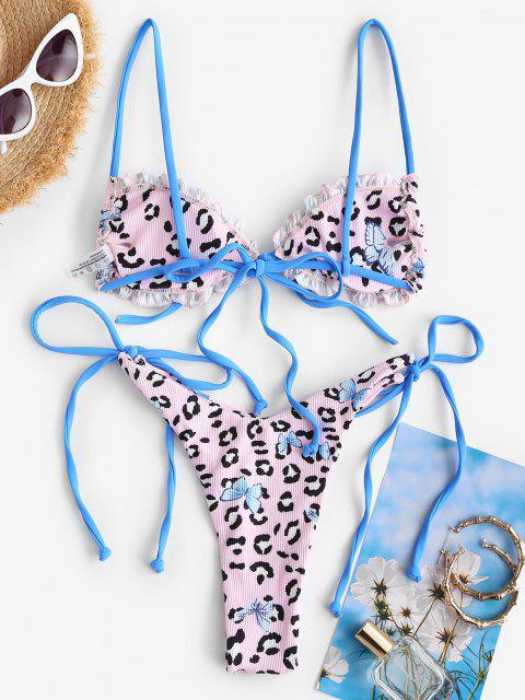 unique ZAFUL Leopard Butterfly Ribbed String Bikini Swimwear - LIGHT PINK M Mobile