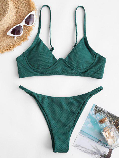 ZAFUL Costume da Bagno Bikini Stringato con Spallini Intrecciati - Verde intenso S Mobile
