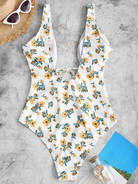 ladies ZAFUL Cut Out Floral Tie Front One-piece Swimwear - YELLOW S Mobile