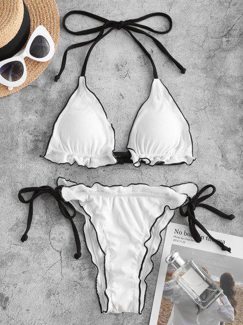 shop ZAFUL Ribbed Lettuce Binding Tie Side Bikini Swimwear - WHITE M Mobile