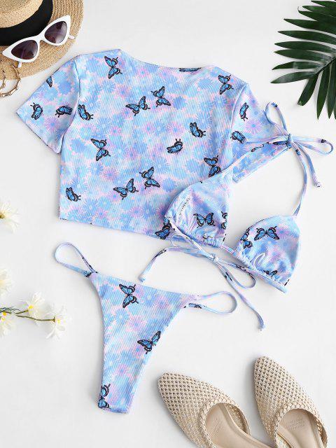 women ZAFUL Ribbed Daisy Butterfly Print Three Piece String Bikini Swimwear - LIGHT BLUE L Mobile
