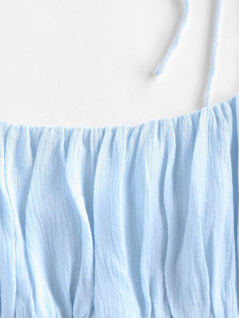 ZAFUL Camisole Plissée à Epaule Nouée à Volants - Bleu clair L Mobile