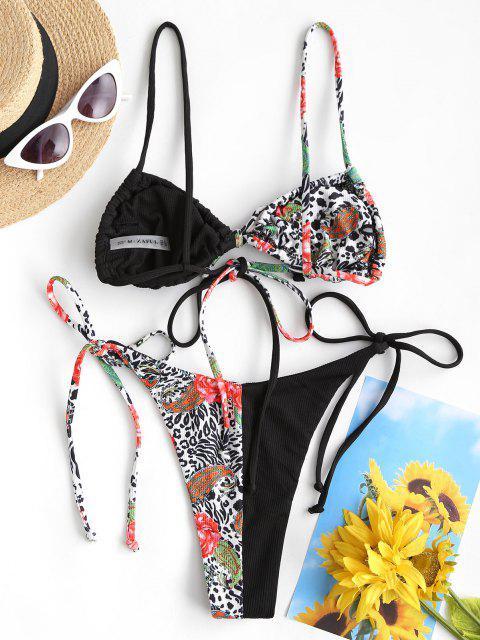 ZAFUL Costume da Bagno Bikini a Incrocio Floreale con Fiocco - Nero S Mobile