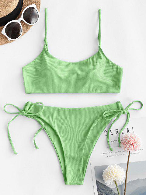 Costume da Bagno Bikini a Costine con Lacci Laterali di ZAFUL - Verde M Mobile