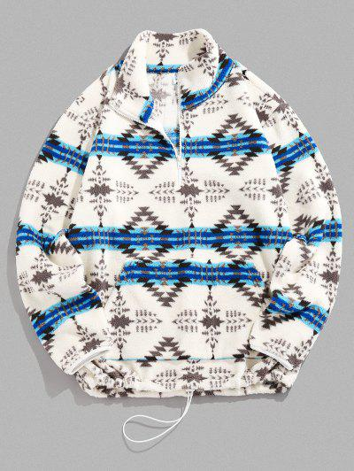ZAFUL Tribal Pattern Quarter Zip Fuzzy Jacket - Light Blue S