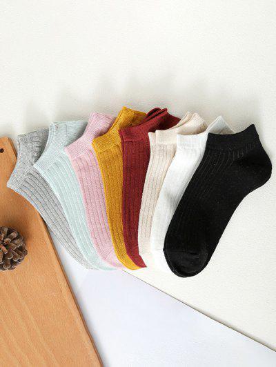 8 Pairs Ribbed Solid Ankle Socks Set - Multi