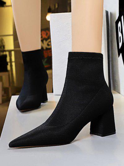 Pointed Toe Chunky Heel Yarn Boots - Black Eu 40
