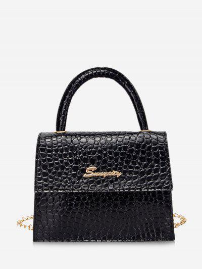 Letter Pattern Cover Chain Handbag - Black