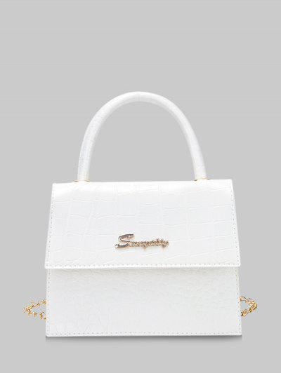 Letter Pattern Cover Chain Handbag - White