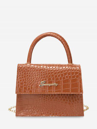 Letter Pattern Cover Chain Handbag - Mahogany