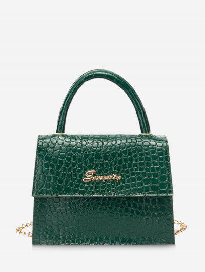 Letter Pattern Cover Chain Handbag - Pine Green