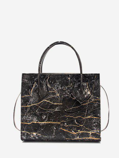 Marbling Printed Square Handbag - Black