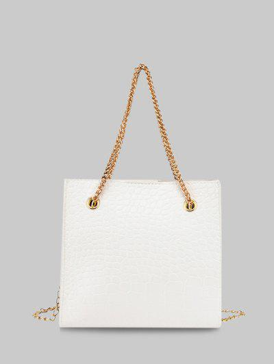 Square Stone Grain Chain Shoulder Bag - White