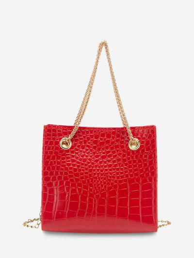 Square Stone Grain Chain Shoulder Bag - Red