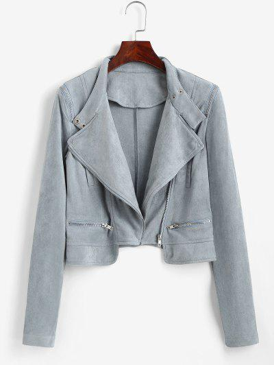Faux Suede Zipper Turndown Collar Jacket - Light Blue M