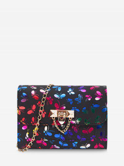 Butterfly Pattern Flap Chain Crossbody Bag - Black