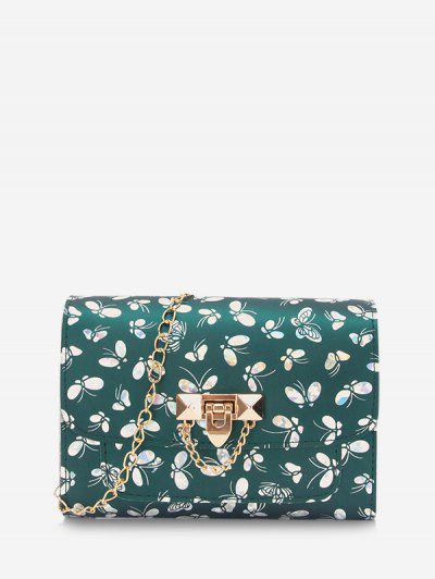 Butterfly Pattern Flap Chain Crossbody Bag - Medium Sea Green