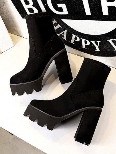 Suede Chunky Heel Platform Boots - Natural Black Eu 38