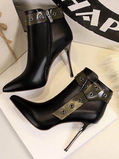 Retro Stiletto Heel Pointed Toe Eyelet Buckle Boots - Black Eu 37