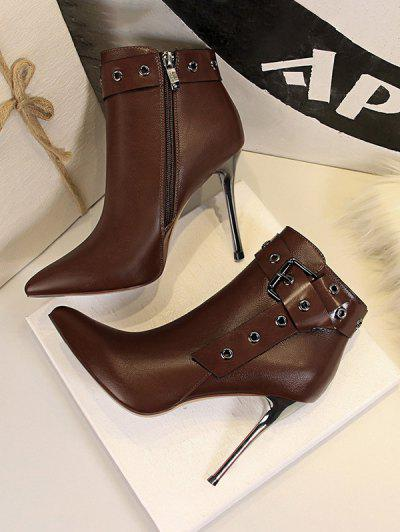 Retro Stiletto Heel Pointed Toe Eyelet Buckle Boots - Coffee Eu 39