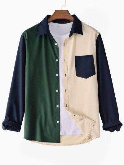 Colorblock Patchwork Long Sleeve Shirt - Multi S