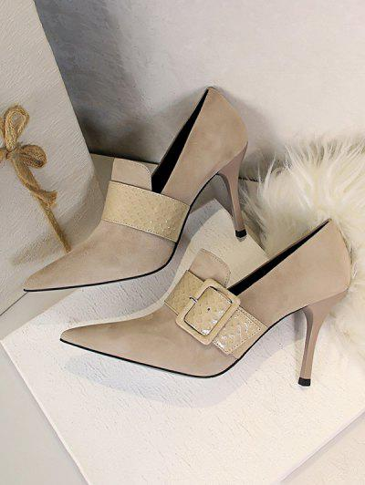 Suede Snake Print Buckle Stiletto Heel Shoes - Apricot Eu 40
