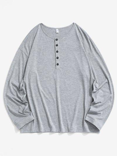 Half Button Long Sleeve Plain T-shirt - Dark Gray Xs
