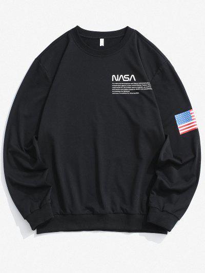 American Flag Letter Print Rib-knit Trim Sweatshirt - Black S