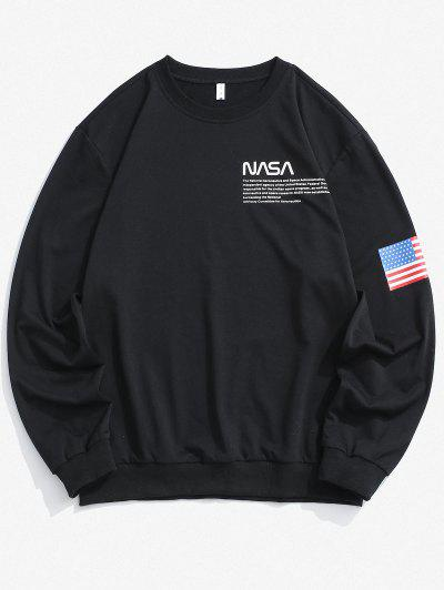 Amerikanische Flagge Buchstabe Druck Rippen Strick Trim Sweatshirt - Schwarz L