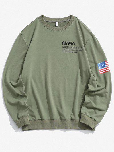 American Flag Letter Print Rib-knit Trim Sweatshirt - Deep Green Xl