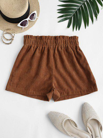 Corduroy Frilled Pull On Shorts - Coffee S