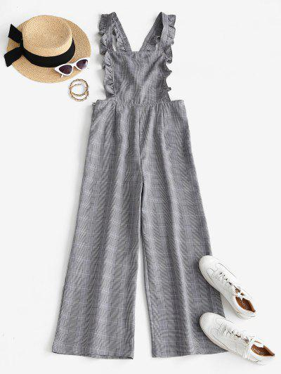 Plaid Cross Back Wide Leg Frilled Jumpsuit - Light Gray M