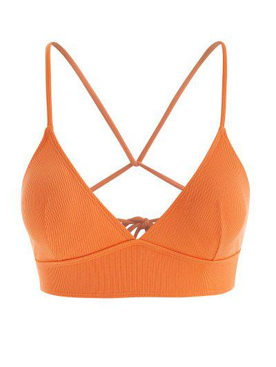 Plus Size Ribbed Back Tie Plunge Bikini Top - Dark Orange Xl