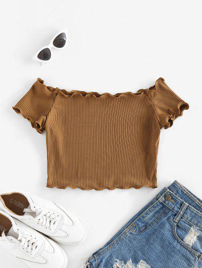 ZAFUL Off Shoulder Lettuce Trim Crop Tee - Deep Coffee S