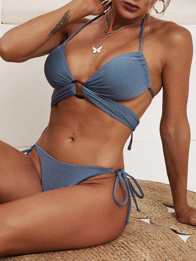 ZAFUL Ribbed O-ring Cheeky Tanga Bikini Swimwear - Deep Blue M