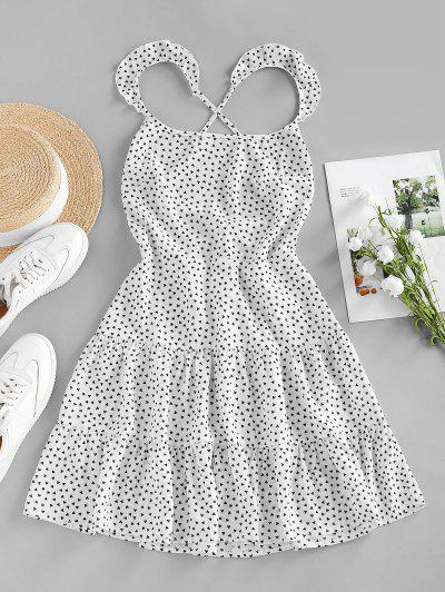 ZAFUL Heart Print Ruffle Lace Up Tiered Dress - White S