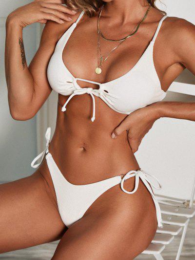 ZAFUL Gerippte Ringe Bikini Badebekleidung Mit Hohem Schnitt - Weiß S