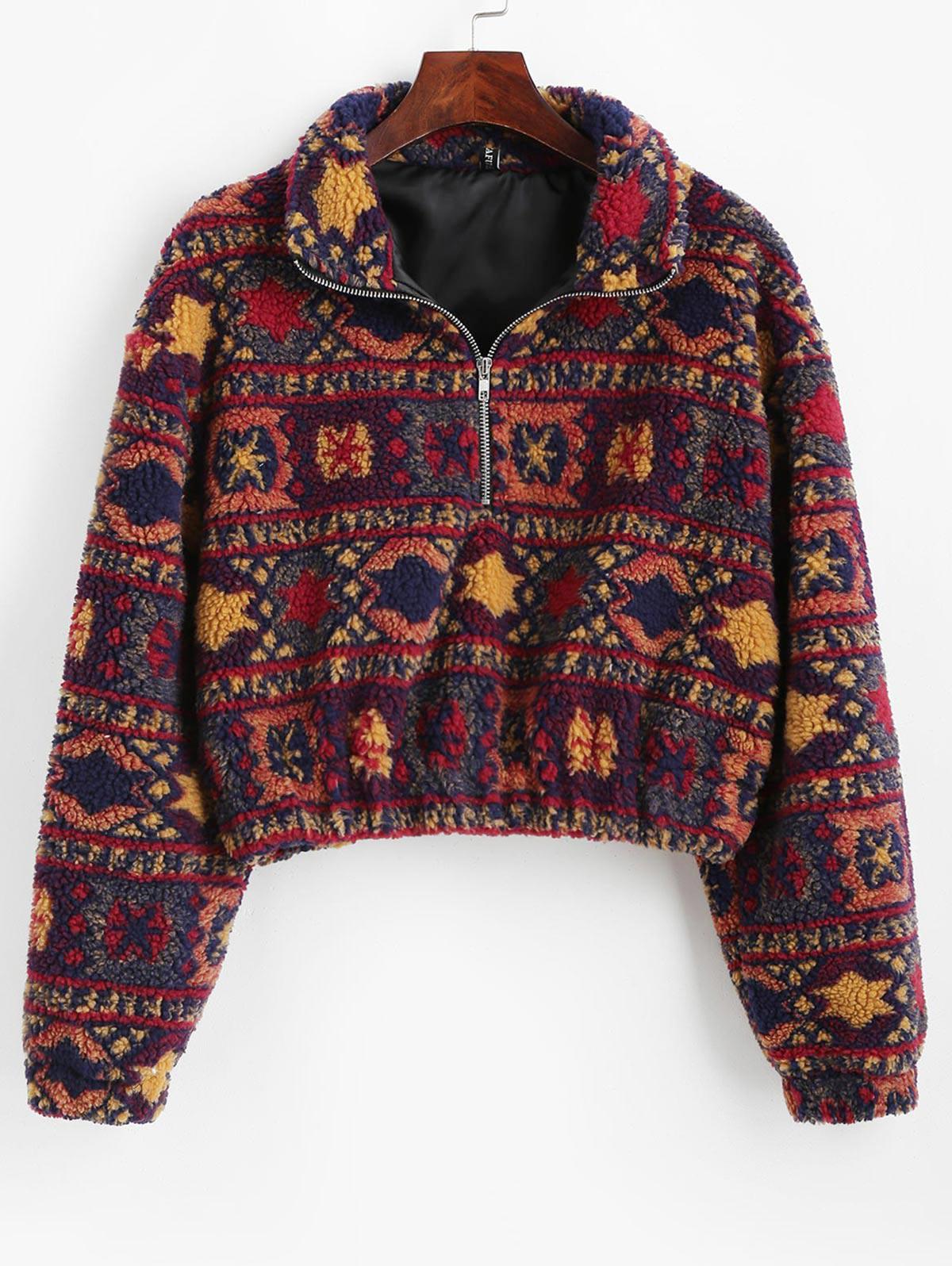 Sweat-shirt Tribal Imprimé à Demi-Zip M - Zaful FR - Modalova