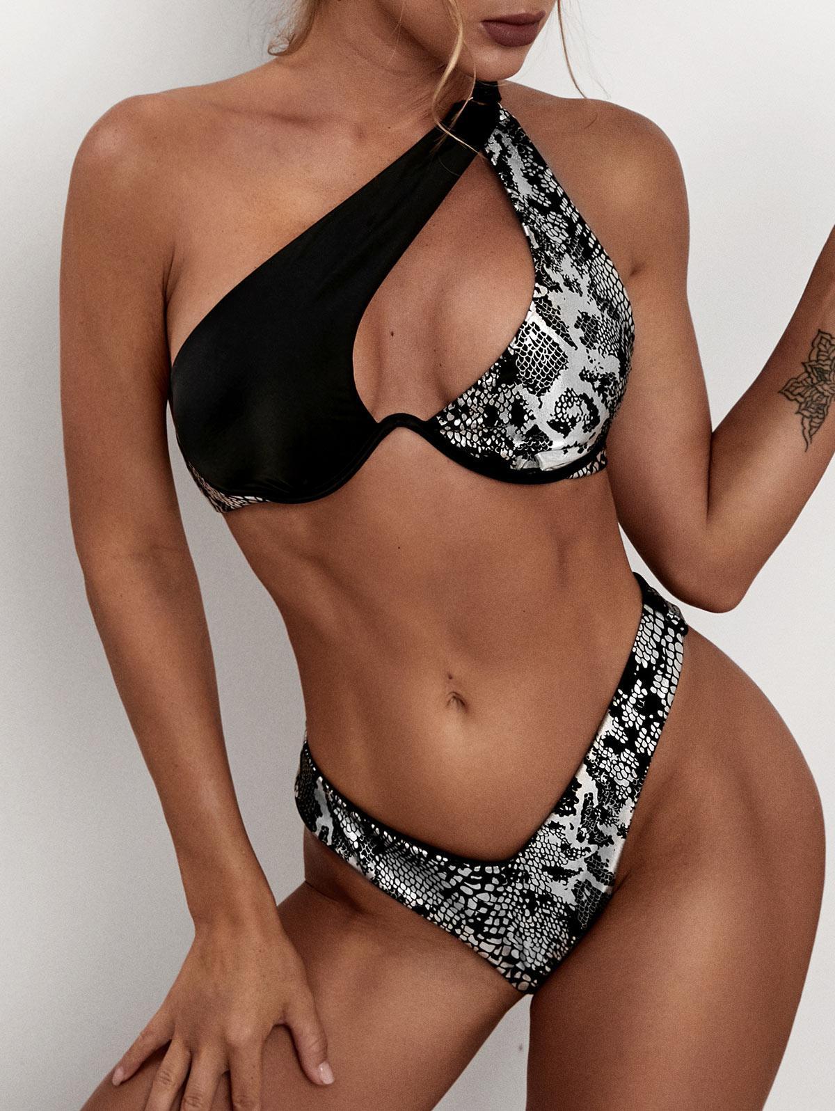 ZAFUL Metallic Animal One Shoulder Thong Bikini Swimwear
