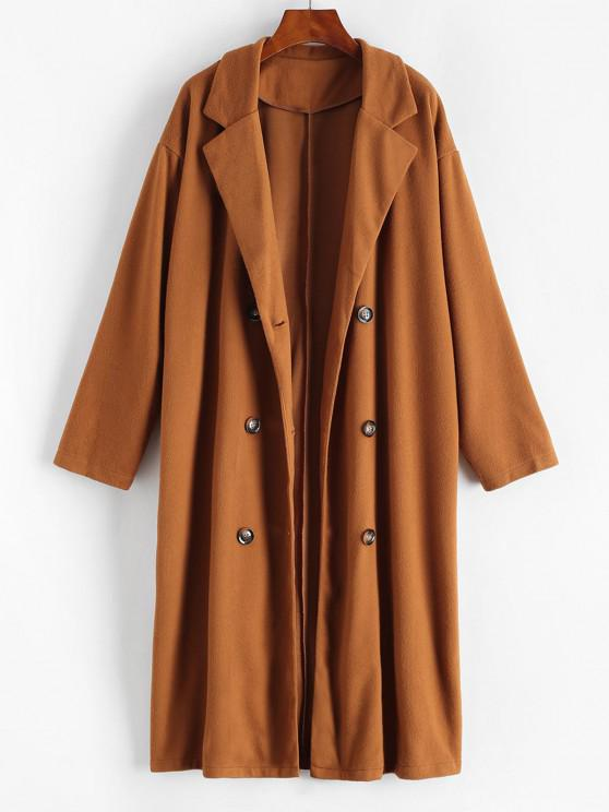hot Longline Double Breasted Wool Blend Coat - BROWN BEAR L
