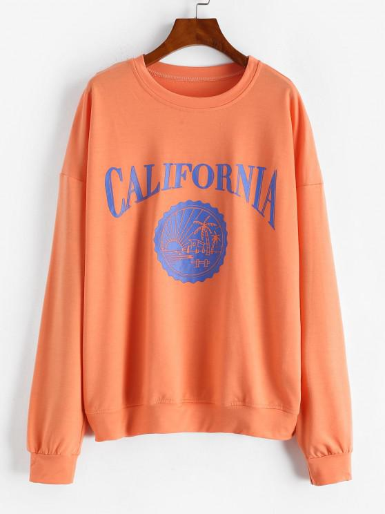 womens Oversize CALIFORNIA Graphic Sweatshirt - LIGHT ORANGE S