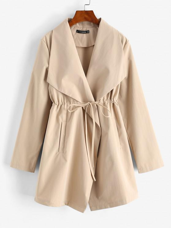 Pockets Drawstring Waist Skirted Coat - القهوة الخفيفة S