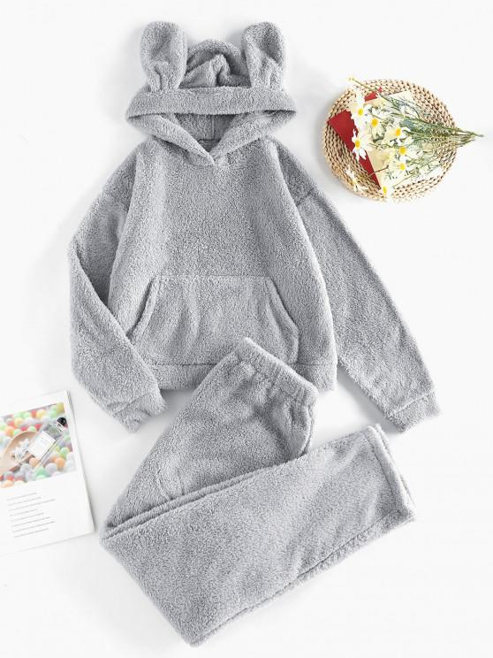 outfits ZAFUL Plush Ear Hooded Drop Shoulder Pajama Pants Set - GRAY S