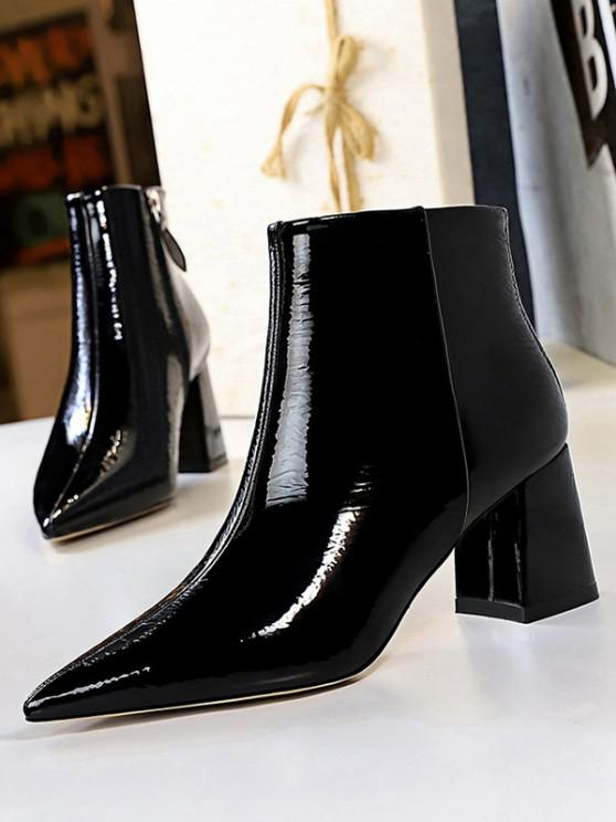 shops Patent Leather Pointed Toe Chunky Heel Boots - BLACK EU 38
