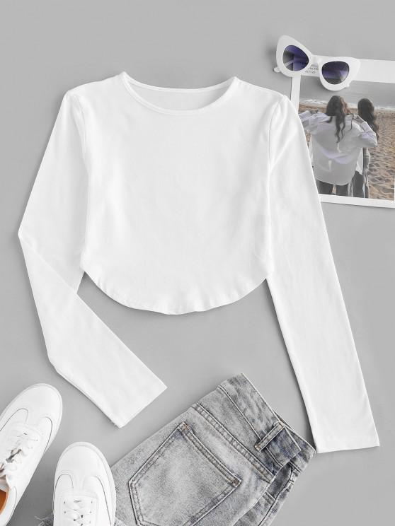 ladies Basic Long Sleeve Curved Hem Crop T Shirt - WHITE M