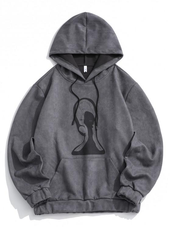 new Graphic Print Front Pocket Suede Hoodie - GRAY L