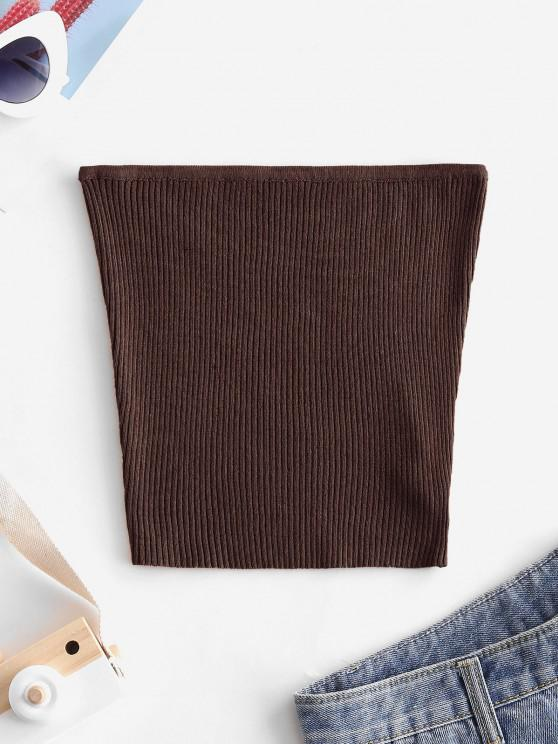online Plain Knitted Tube Top - DEEP COFFEE S