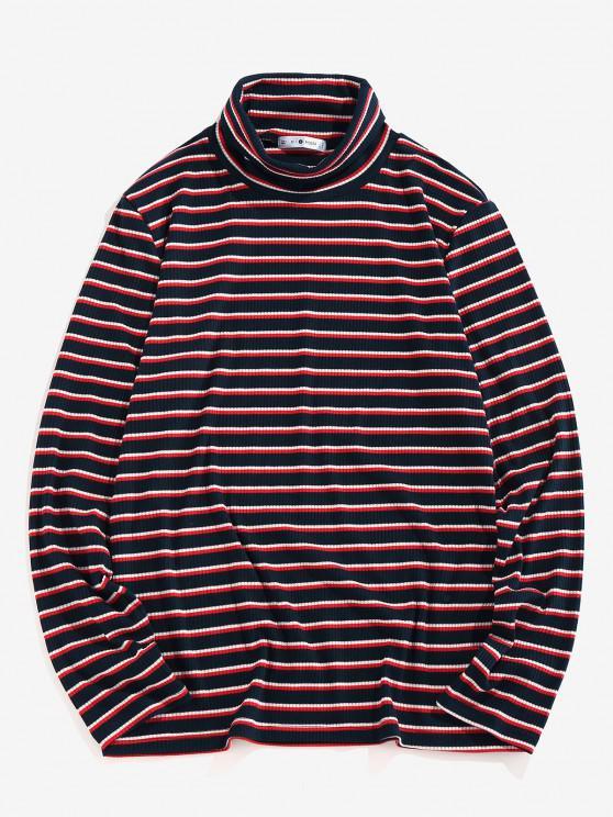 lady ZAFUL Turtleneck Striped Print Ribbed T-shirt - DEEP BLUE XL