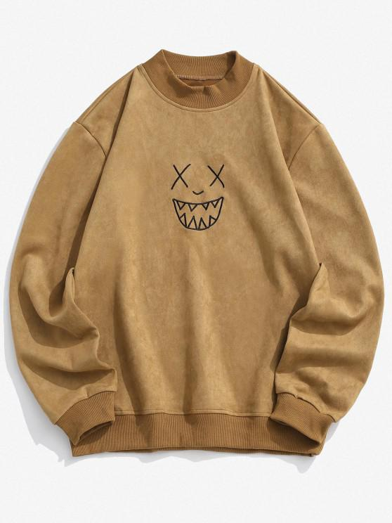 fancy Smile Face Embroidered Suede Sweatshirt - LIGHT BROWN XL