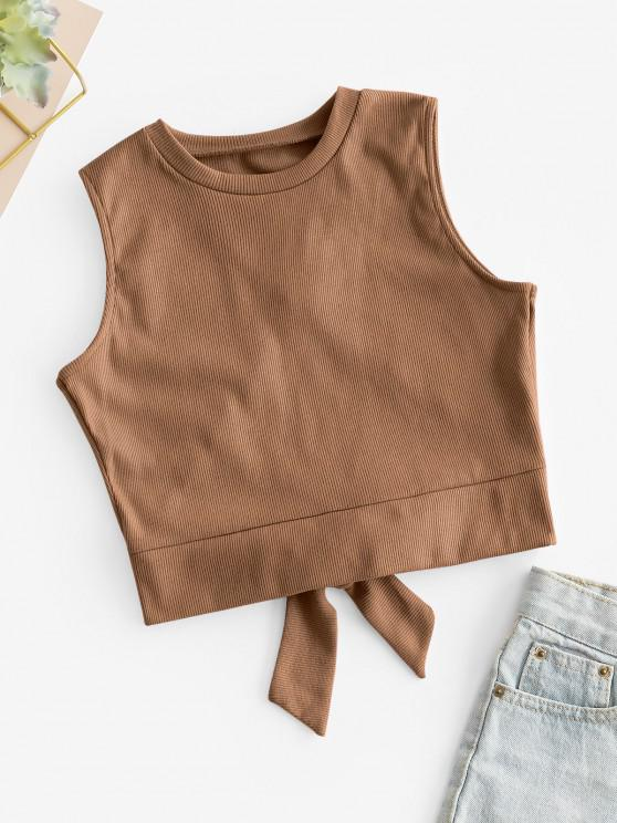 outfits Overlap Knotted Crop Tank Top - COFFEE S